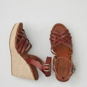 American Eagle Strappy Ankle Wrap Wedge Sandal